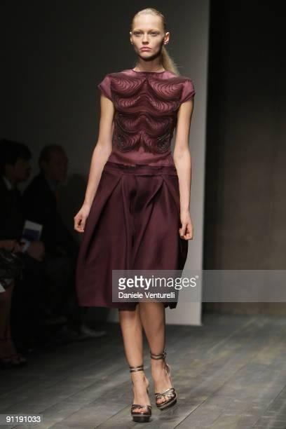 Model Sasha Pivovarova walks down the runway during the Salavtore Ferragamo show as part of Milan Womenswear Fashion Week Spring/Summer 2010 at on...