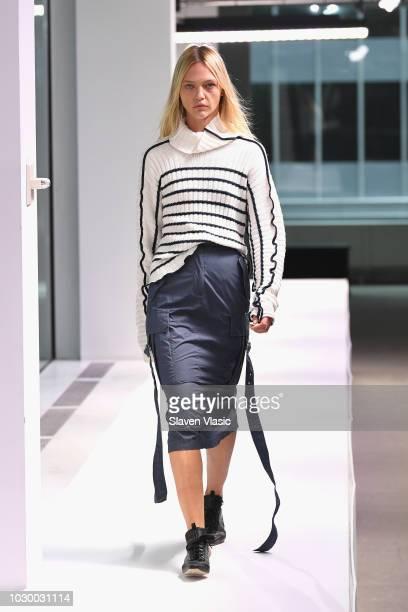 Model Sasha Pivovarova walks the runway for the Sies Marjan show during New York Fashion Week on September 9 2018 in New York City
