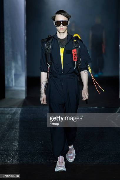 Model Sasha Trautvein walks the runway at the MCM show during the 94th Pitti Immagine Uomo on June 13 2018 in Florence Italy