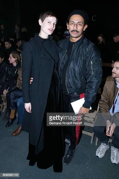 Model Saskia de Brauw and Stylist Haider Ackermann attend the Lanvin Menswear Fall/Winter 20162017 show as part of Paris Fashion Week on January 24...