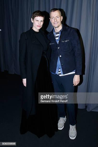 Model Saskia de Brauw and Stylist Lucas Ossendrijver attend the Lanvin Menswear Fall/Winter 2016-2017 show as part of Paris Fashion Week on January...