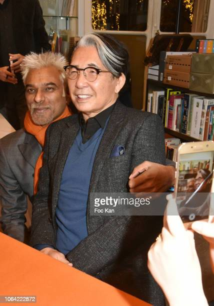 Model Satya Oblette and Kenzo Takada attend the 'Kenzo Takada' by Kazuko Masui Book Signing and Launch Cocktail at Librairie Art Curial on November...