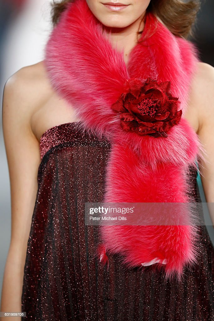 A model, scarf detail, walks the runway at the Sportalm show during the Mercedes-Benz Fashion Week Berlin A/W 2017 at Kaufhaus Jandorf on January 18, 2017 in Berlin, Germany.