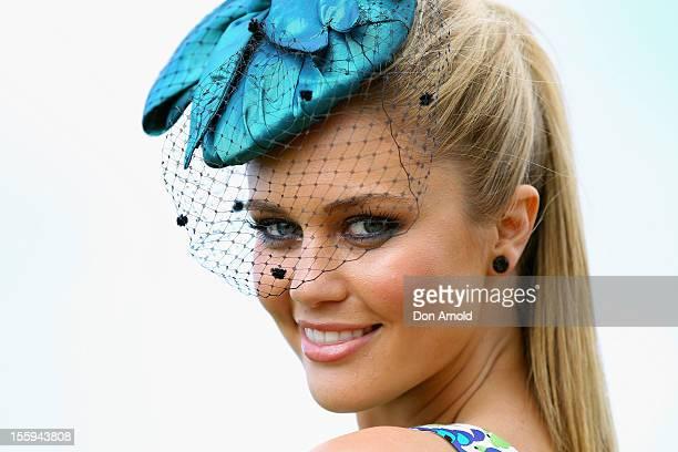 Model ScherriLee Biggs poses for a photo on Emirates Stakes Day at Flemington Racecourse on November 10 2012 in Melbourne Australia