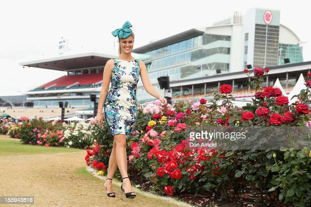 Model ScherriLee Biggs poses for a photo on Emirates Stakes Day at Flemington Racecourse on November 10 2012 in Melbourne Australia