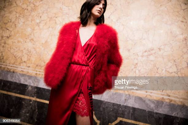 A model seen backstage ahead of the Aniye By show during Milan Men's Fashion Week Fall/Winter 2018/19 on January 15 2018 in Milan Italy