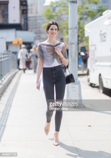A model seen in the streets of Manhattan outside Zimmermann during New York Fashion Week on September 11 2017 in New York City