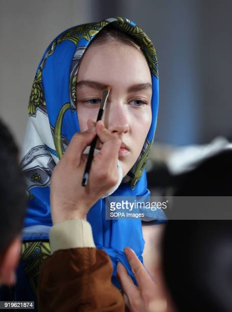 A model seen on backstage ahead of the TOGA show during London Fashion Week February 2018 at BFC Show Space