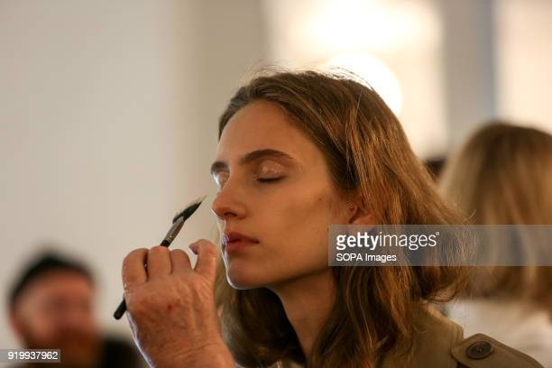 A model seen on backstage before the Preen by Thornton Bregazzi show during London Fashion Week February 2018 at BFC Show Space