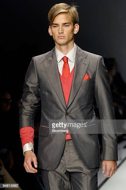 A model seen on the catwalk during the Salvatore Ferragamo Spring/Summer 2008 men's collection in Milan Italy Saturday June 23 2007