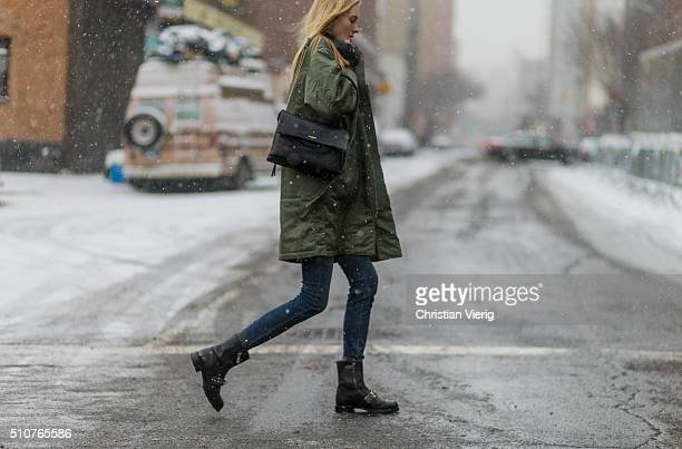 A model seen outside Phillip Lim during New York Fashion Week Women's Fall/Winter 2016 on February 15 2016 in New York City