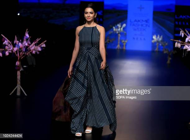 A model seen showcasing a design by Tahweave 5th day of the Lakme Fashion Week Winter/Festive 2018 at hotel St Regis in Mumbai