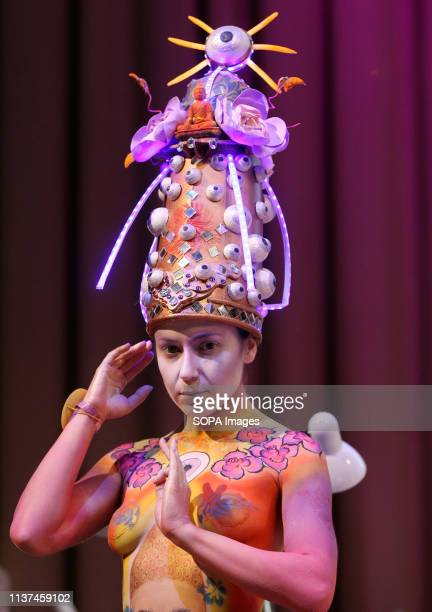 A model seen showcasing a design during an annual international hairdressers festival Crystal Angel in Kiev The hairdressers and makeup artists...