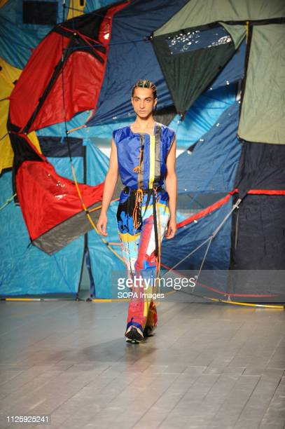 A model seen showcasing a design during the Bethany Williams Catwalk show at the London Fashion week at the 180 The Strand London