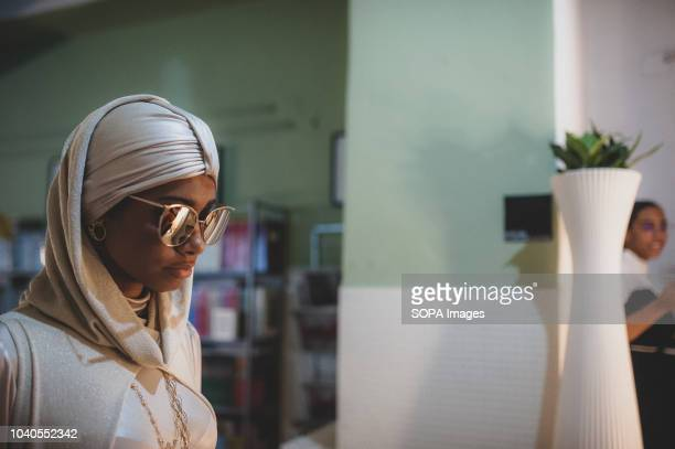 A model seen showcasing a design during the fashion week event The Islamic Fashion Design Council hosted a Milan Fashion Week Modest Soiree dedicated...