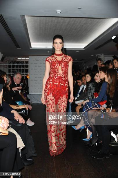 A model seen showcasing during the LFW Nina Naustdal s/s19 catwalk show Designer previews its spring/summer 2019/2020 collection which was Hosted at...