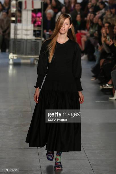 Model seen walking the runway at Molly Goddard show during London Fashion Week February 2018 at BFC Show Space