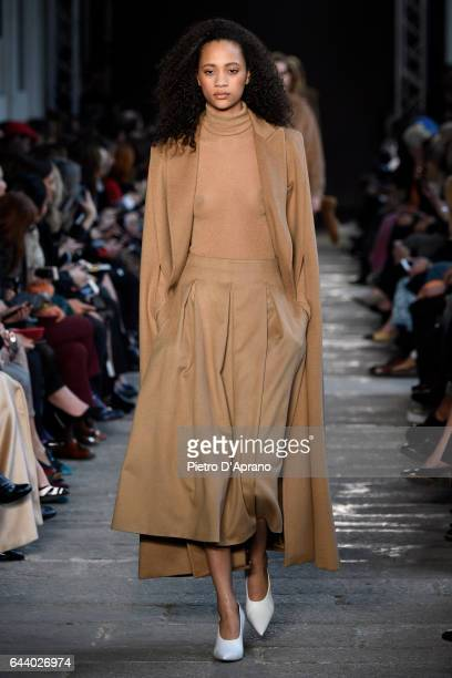 Model Selena Forrest walks the runway at the Max Mara show during Milan Fashion Week Fall/Winter 2017/18 on February 23 2017 in Milan Italy