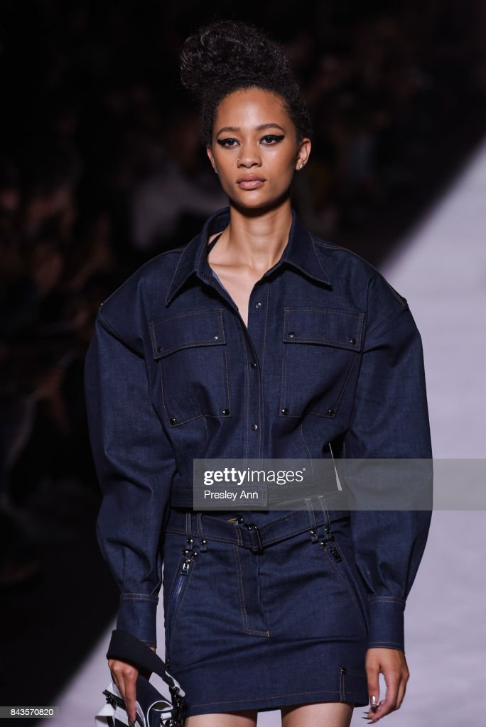 Model Selena Forrest walks the runway at Tom Ford - Runway - September 2017 - New York Fashion Week at 643 Park Avenue on September 6, 2017 in New York City.