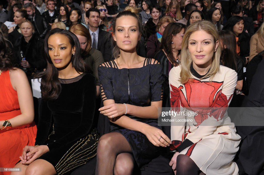 Model Selita Ebank, Petra Nemcova and Hofit Golan attend the Badgley Mischka Fall 2013 fashion show during Mercedes-Benz Fashion Week at The Theatre at Lincoln Center on February 12, 2013 in New York City.