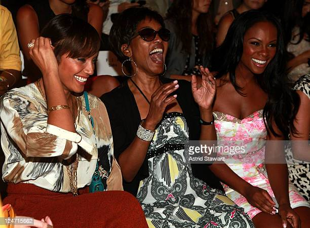 Model Selita Ebanks actress Angela Bassett and actress Tika Sumpter attend TRESemme at theTracy Reese Spring 2012 show during MercedesBenz Fashion...