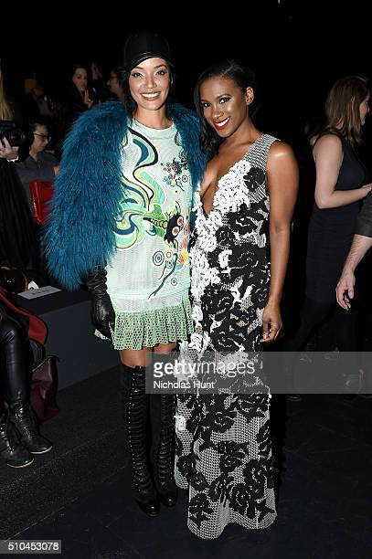 Model Selita Ebanks and actress Vicky Jeudy attend the Vivienne Tam Fall 2016 fashion show during New York Fashion Week The Shows at The Arc Skylight...