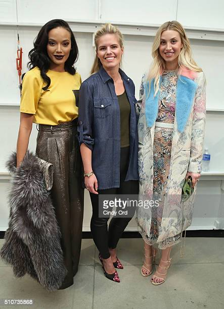 Model Selita Ebanks fashion designer Georgine Ratelband and TV personality Whitney Port attend the Georgine Fall 2016 fashion show during New York...