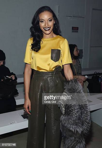 Model Selita Ebanks poses at the Georgine Fall 2016 fashion show during New York Fashion Week The Shows at The Gallery Skylight at Clarkson Sq on...