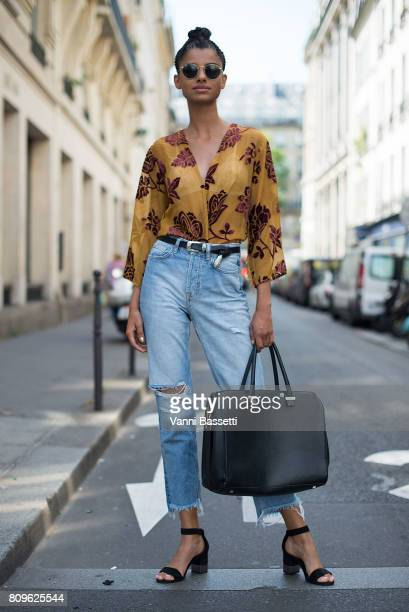 Model Serena Marques poses after the Jean Paul Gaultier show during Paris Fashion Week Haute Couture FW 17/18 on July 5 2017 in Paris France