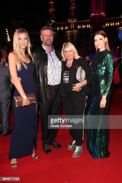 Model Serlina Hohmann Guenther Klum and his wife Erna Klum parents of Heidi Klum and Celine Bethmann winner GNTM during the Life Ball 2017 at City...
