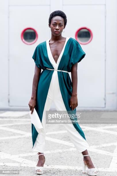 Model Sesinou Henriette wears Belo dress during the MercedesBenz Fashion Week Madrid Spring/Summer 2018 at IFEMA on September 15 2017 in Madrid Spain