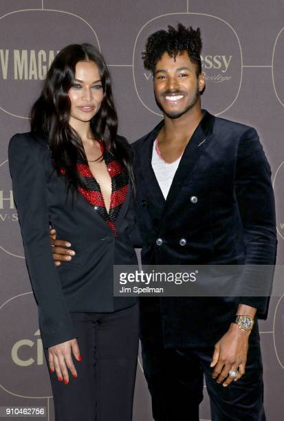 Model Shanina Shaik and DJ Ruckus attend the 2018 Warner Music Group Pre Grammy Celebration at The Grill The Pool Restaurants on January 25 2018 in...