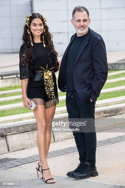 Model Shanina Shaik and fashion designer Kobi Halperin are seen arriving to the 2018 CFDA Fashion Awards at Brooklyn Museum on June 4 2018 in New...