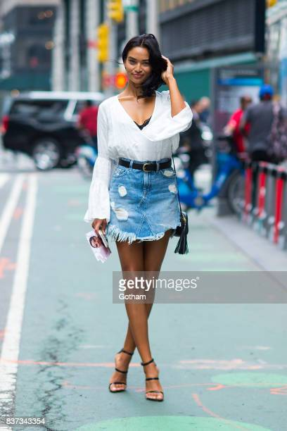Model Shanina Shaik attends call backs for the 2017 Victoria's Secret Fashion Show in Midtown on August 22 2017 in New York City