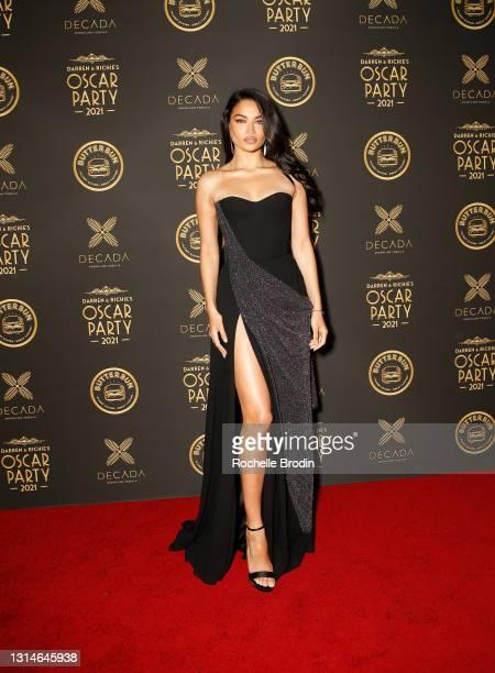 Model Shanina Shaik attends Darren Dzienciol & Richie Akiva's Oscar Party 2021 on April 25, 2021 in Bel Air, California.
