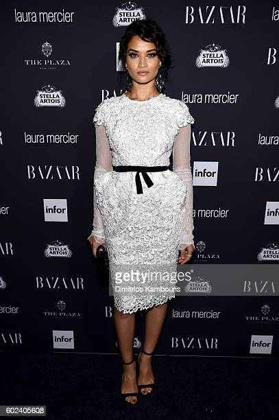 Model Shanina Shaik attends Harper's Bazaar's celebration of ICONS By Carine Roitfeld presented by Infor Laura Mercier and Stella Artois at The Plaza...