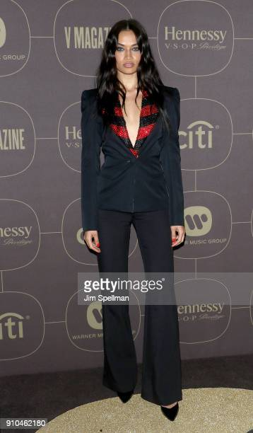 Model Shanina Shaik attends the 2018 Warner Music Group Pre Grammy Celebration at The Grill The Pool Restaurants on January 25 2018 in New York City