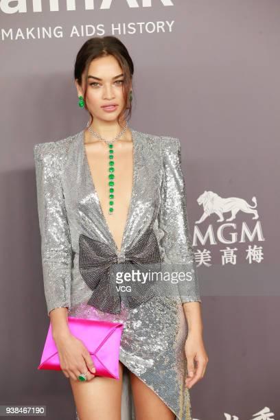 Model Shanina Shaik attends the amfAR Hong Kong Gala 2018 at Shaw Studios on March 26 2018 in Hong Kong Hong Kong
