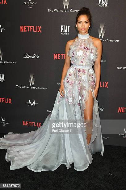 Model Shanina Shaik attends The Weinstein Company and Netflix Golden Globe Party presented with FIJI Water Grey Goose Vodka Lindt Chocolate and...