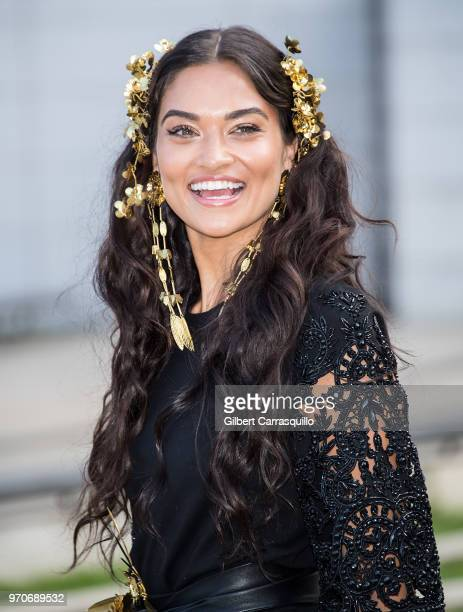 Model Shanina Shaik is seen arriving to the 2018 CFDA Fashion Awards at Brooklyn Museum on June 4 2018 in New York City