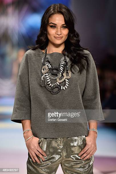 Model Shanina Shaik walks the runway at the Swarovski show during MercedesBenz Fashion Week Australia 2014 at Carriageworks on April 9 2014 in Sydney...