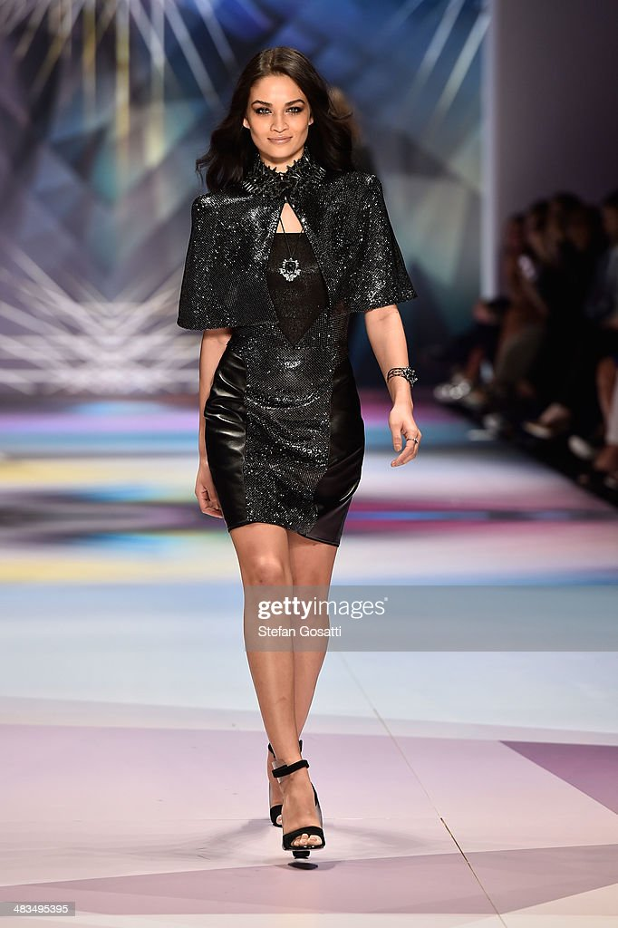 Model Shanina Shaik walks the runway at the Swarovski show during Mercedes-Benz Fashion Week Australia 2014 at Carriageworks on April 9, 2014 in Sydney, Australia.