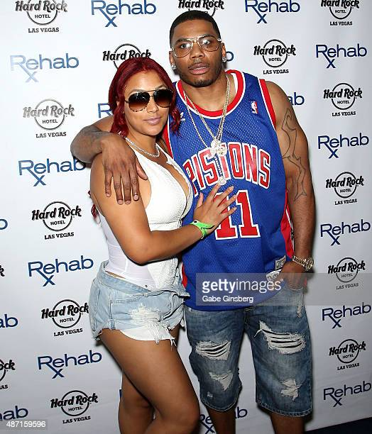 Model Shantel Jackson and rapper Nelly attend the Hard Rock Hotel Casino's Rehab pool party on September 6 2015 in Las Vegas Nevada