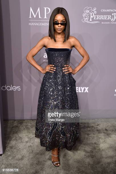 Model Sharam Diniz attends the 2018 amfAR Gala New York at Cipriani Wall Street on February 7 2018 in New York City