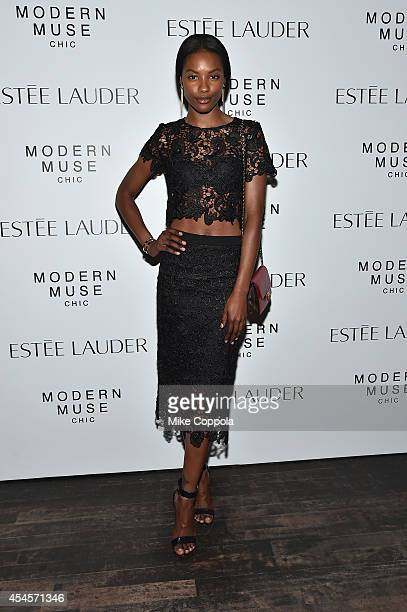 Model Sharam Diniz attends the Estee Lauder Modern Muse Moments screening on September 3 2014 in New York City