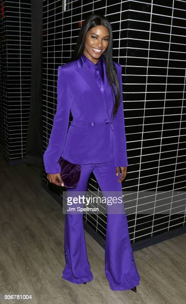 Model Sharam Diniz attends the screening after party for Global Road Entertainment's Midnight Sun hosted by The Cinema Society and Day Owl Rose at...
