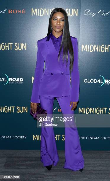 Model Sharam Diniz attends the screening of Global Road Entertainment's Midnight Sun hosted by The Cinema Society and Day Owl Rose at The Landmark at...