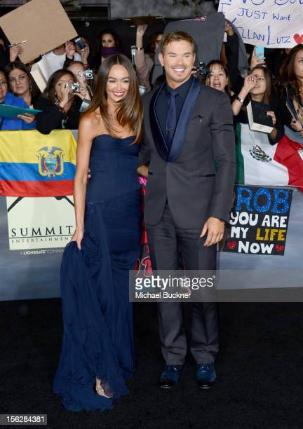 Model Sharni Vinson and actor Kellan Lutz arrive at the premiere of Summit Entertainment's 'The Twilight Saga Breaking Dawn Part 2' at Nokia Theatre...