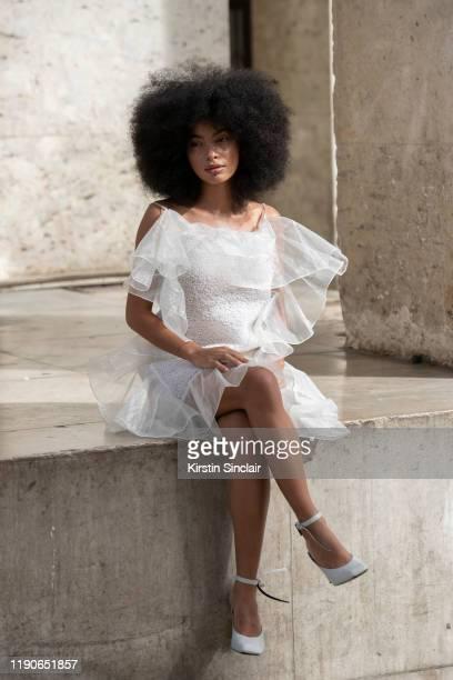 Model Sharon A.E wears all Nina Ricci on September 27, 2019 in Paris, France.