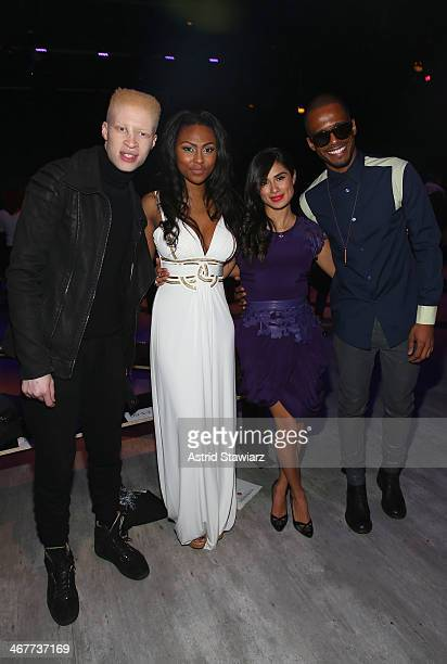 Model Shaun Ross actress Tashiana Washington actress Diane Guerrero and actor Eric West attend the Emerson By Jackie FraserSwan fashion show during...